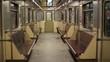a trip inside an empty subway car, evening