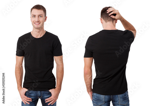 88decf7c Shirt design and people concept - close up of young man in blank black t-