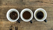 Coffee process in 3 cups - roasted, grind and brew