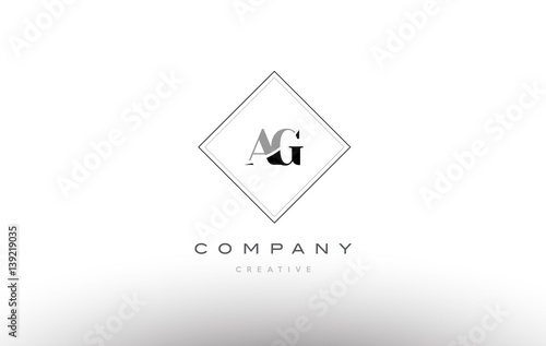 ag a g  retro vintage black white alphabet letter logo Wallpaper Mural
