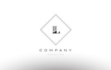 Il I L  Retro Vintage Black White Alphabet Letter Logo