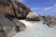 Amazing granite boulders on the Anse Source d'Argent beach on the seashore on La Digue island, Seychelles