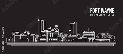 Valokuva Cityscape Building Line art Vector Illustration design - Fort Wayne city