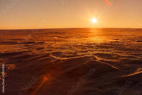 Garden Poster Brown Martian sunset (Mars planet) red landscape. Looks like cold desert on Mars. A huge field of ice