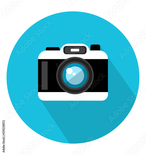 Camera icon in trendy flat style. Web site page and mobile app design element. Flat design in stylish colors. Isolated. Long Shadow.  Wall mural