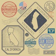 Retro Vintage Postage Stamps Set California, United States