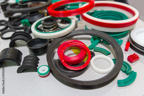 Fotografía  Various rubber products and sealing products at the exhibition stand