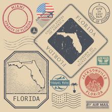Retro Vintage Postage Stamps Set Florida, United States