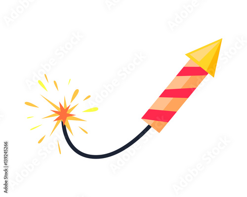 Broken-winded Firework Rocket Isolated on White Tablou Canvas