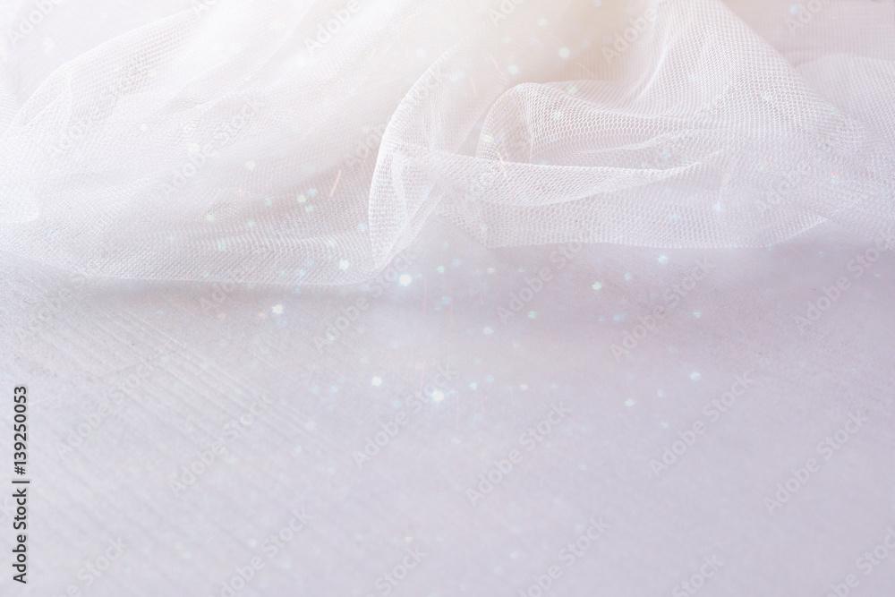 Fototapeta Background of white delicate lace fabric