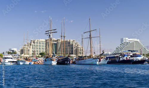 Moored pleasure boats, sailboats and yachts in marina of