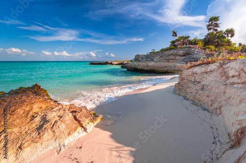 Staande foto Mexico Beach at Caribbean sea in Playa del Carmen, Mexico