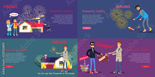 Fotografie, Obraz  Fireworks Safety. Poster of Wrong Act and Danger