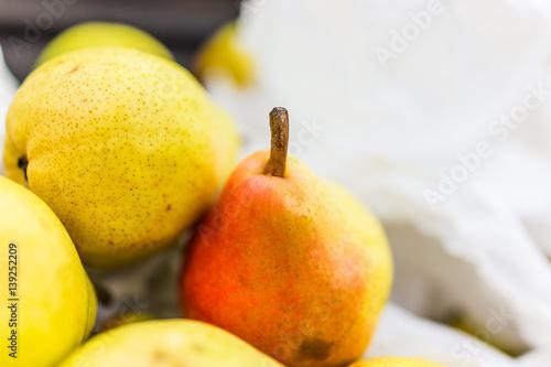 Macro closeup of pink bartlett pears Canvas Print