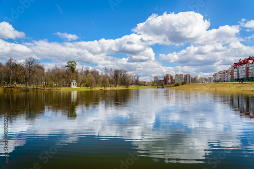 Spring view of the city park and pond