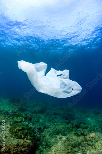 Fotografía  A discarded plastic garbage bag floating next to a tropical coral reef in the oc
