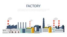 Factory Landscape. Vector Flat Illustration.