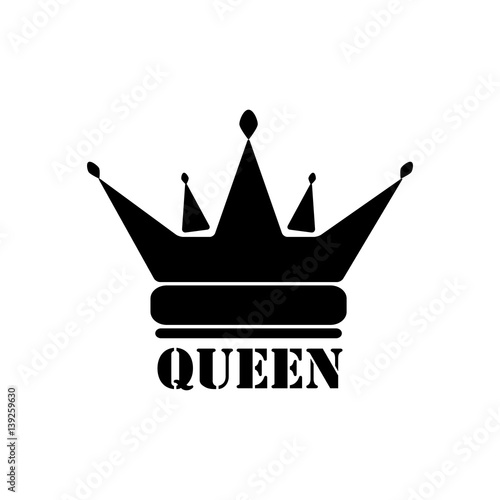 Vector Black Queen Crown Icons On White Background Buy This Stock