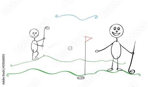 Fototapety, obrazy: People playing golf together/ Two cheerful man competing pounding a small ball into a hole on the field