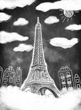 Fototapeta Wieża Eiffla - Wieża Eiffla na czarnej tablicy