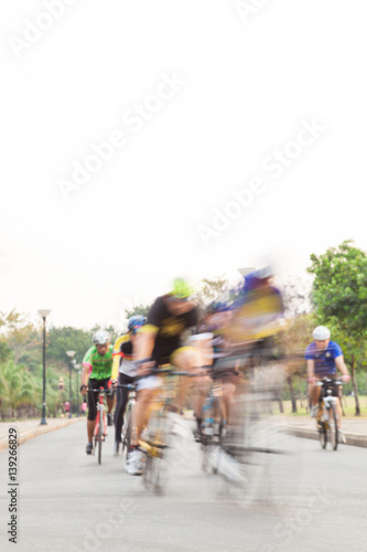 Foto op Aluminium bicycle race in road on sunset