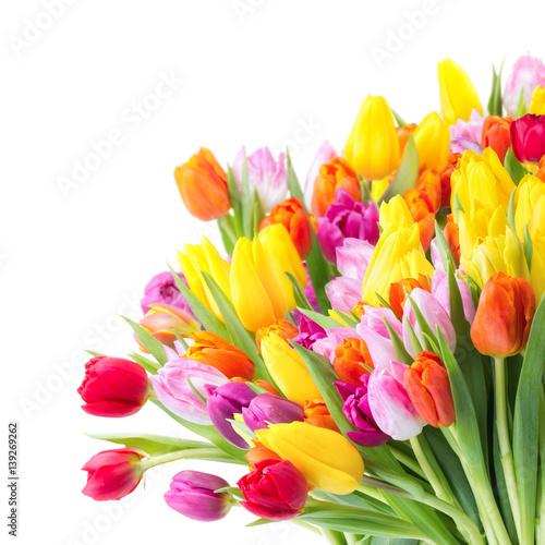 Keuken foto achterwand Tulp Bunter Blumenstrauß mit Tulpen