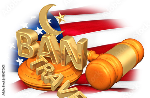 Muslim Symbol On The Word Ban With The Word Travel Cast Aside Legal Concept 3D I Wallpaper Mural
