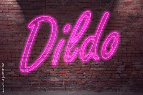 Leuchtreklame Dildo an Ziegelsteinmauer Fototapete