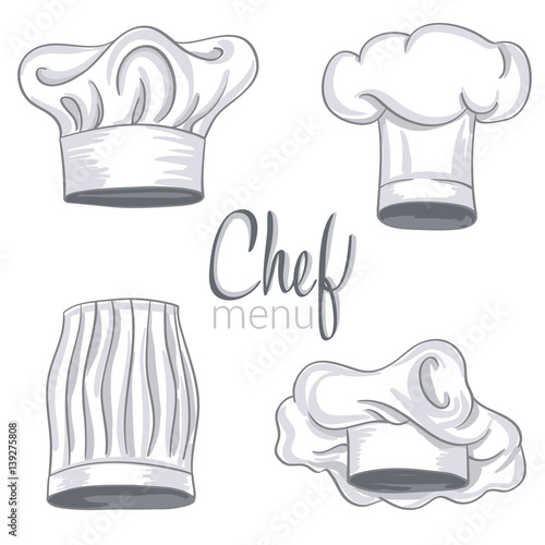 Set of hand drawn chef hat on white. Cooking caps drawings isolated on  white background. vector illustration 49f4d6067a89