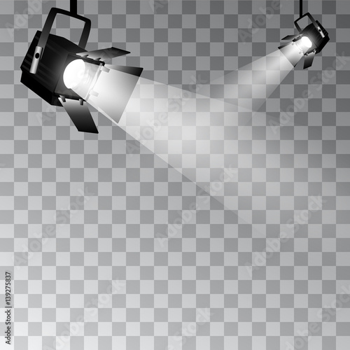Photo Stands Light, shadow Set of vector scenic spotlights