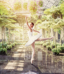FototapetaBallet dancer posing in green botanical garden
