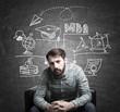 Bearded guy and MBA sketch, blackboard