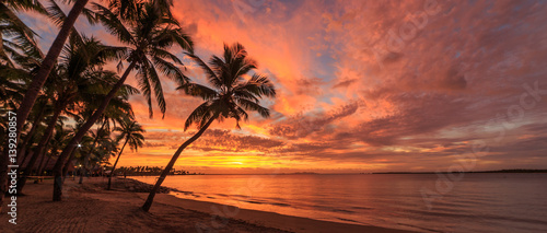 Cadres-photo bureau Palmier Sunset on Fiji beach