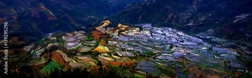 Fotobehang Rijstvelden Terraced rice fields in Laohuzui Yuanyang County