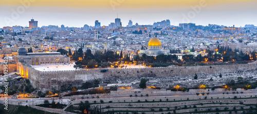 Panoramic view to Jerusalem Old city at Sunset
