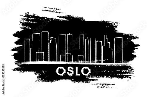 Oslo Skyline Silhouette. Hand Drawn Sketch. Poster