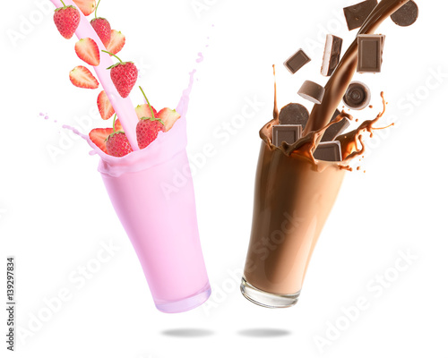 Garden Poster Milkshake Pouring chocolate chips, chocolate milk, strawberry and strawberry milk into glass with splashing., Isolated white background.