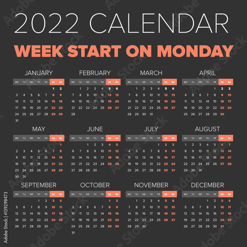 Fotografia  Simple 2022 year calendar