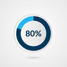 80 Percent Blue Grey And White Pie Chart. Percentage Vector Infographics. Circle Diagram Business Illustration