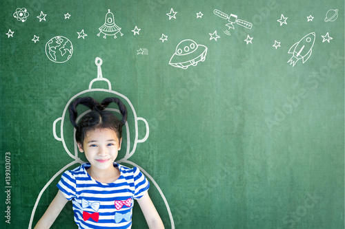 Fototapeta Kid's imagination with learning inspiration in science technology engineering maths STEM education concept obraz