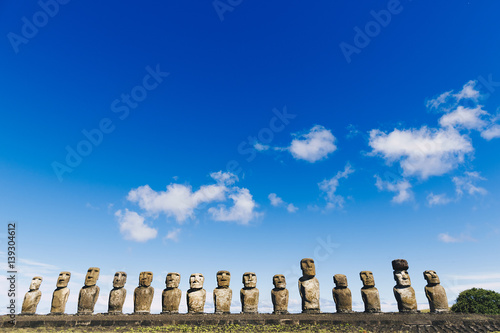 Moais statues on Ahu Tongariki - the largest ahu on Easter Island Canvas Print