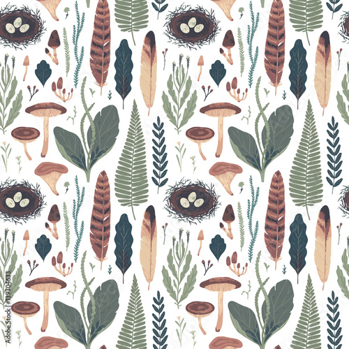 Foto-Schmutzfangmatte - Forest botanical seamless pattern. Vector illustration (von Diashule)