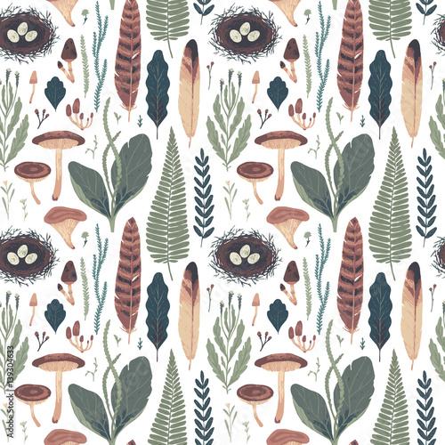 Foto-Vinylboden - Forest botanical seamless pattern. Vector illustration (von Diashule)