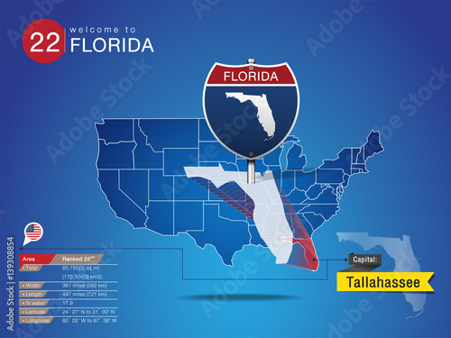 Sign of State American in Road Style on Map USA  FLORIDA