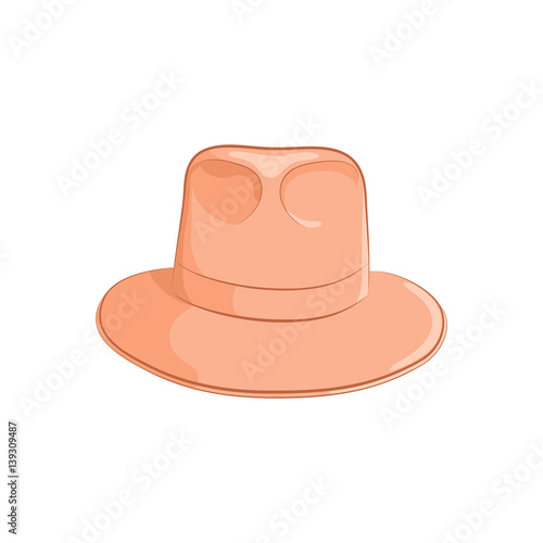 4569ccdcafd6f Realistic felt hat for men or women. Elegant accessory. The orange object  isolated on white background. Vector illustration in hand drawing style for  your ...