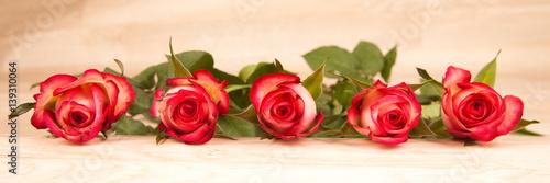 Plakat czerwone róże na tle drewna