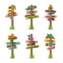 Colored Wooden Arrow Signboard...