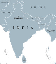 India Political Map With Capit...