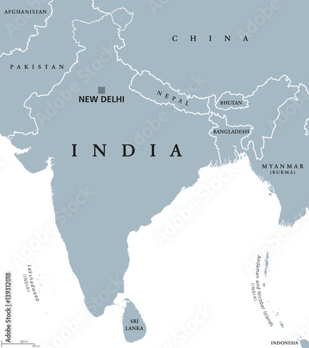 India political map with capital New Delhi, national borders ...