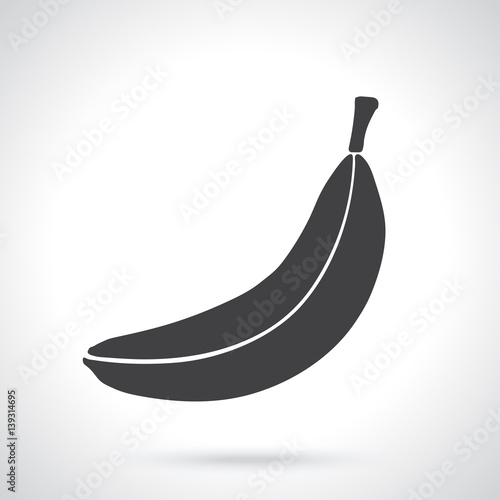 vector illustration silhouette of not peeled banana healthy